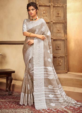 Light Brown Cotton Linen Casual Wear Resham Work Saree