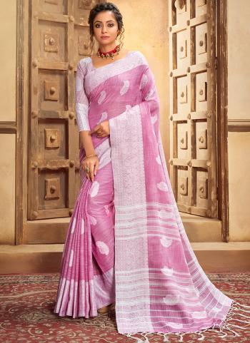 Light Pink Cotton Linen Casual Wear Resham Work Saree