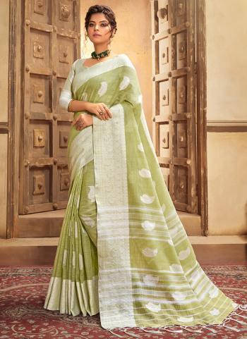 Olive Green Cotton Linen Casual Wear Resham Work Saree