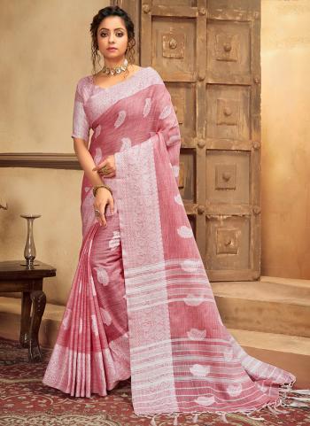 Pink Cotton Linen Casual Wear Resham Work Saree