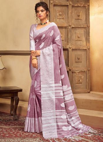 Purple Cotton Linen Casual Wear Resham Work Saree