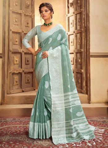 Turquoise Blue Cotton Linen Casual Wear Resham Work Saree