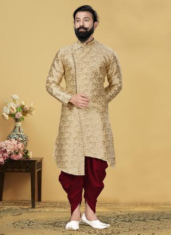 Beige Jacquard Silk Festival Wear Weaving Indo Western