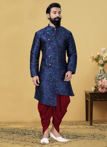 Blue Heavy Silk Festival Wear Weaving Indo Western