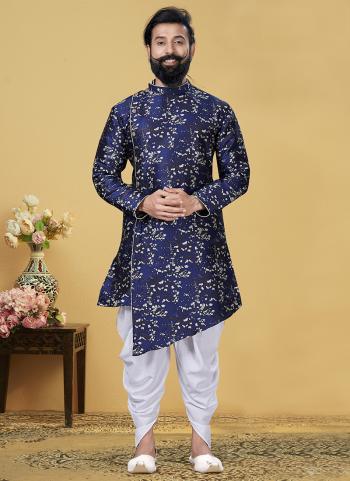 Blue Silk Festival Wear Weaving Indo Western