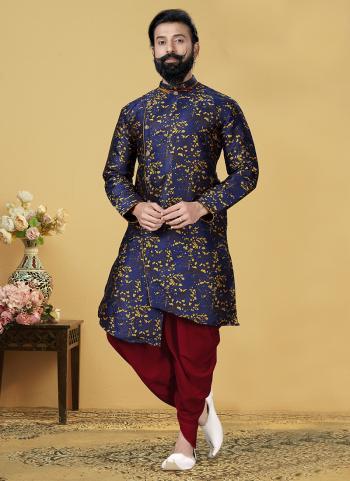 Navy Blue Silk Festival Wear Weaving Indo Western