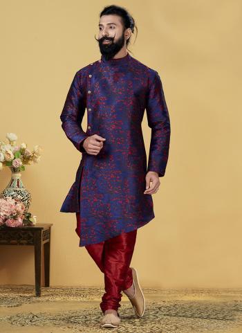 Navy Blue Silk Heavy Festival Wear Weaving Indo Western
