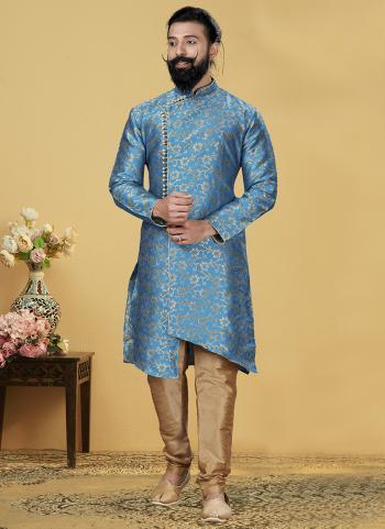 Sky Blue Jacquard Silk Festival Wear Weaving Indo Western