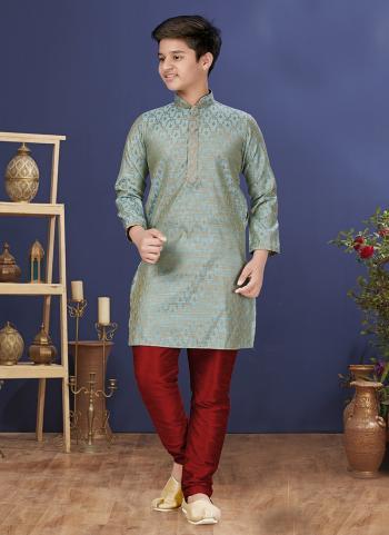 Aqua Blue Jacquard Silk Festival Wear Weaving Boys Kurta Pajama