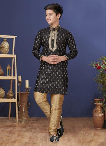 Black Jacquard Silk Festival Wear Weaving Boys Kurta Pajama