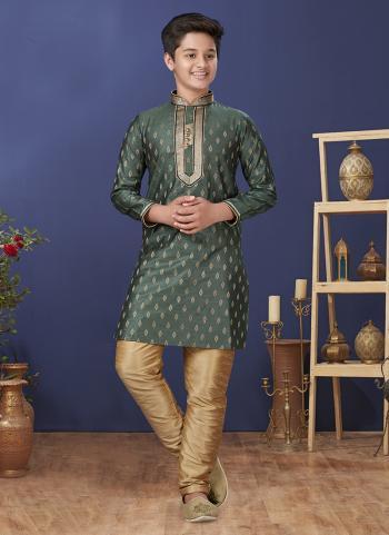 Green Jacquard Silk Festival Wear Weaving Boys Kurta Pajama