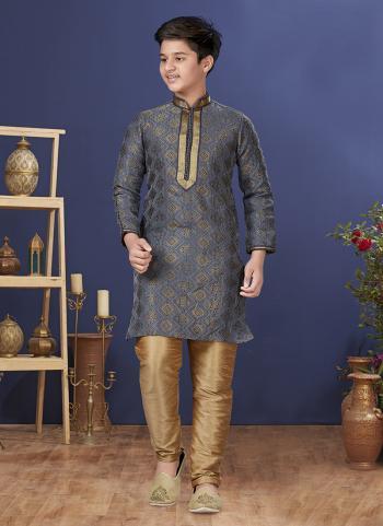 Grey Jacquard Silk Festival Wear Weaving Boys Kurta Pajama