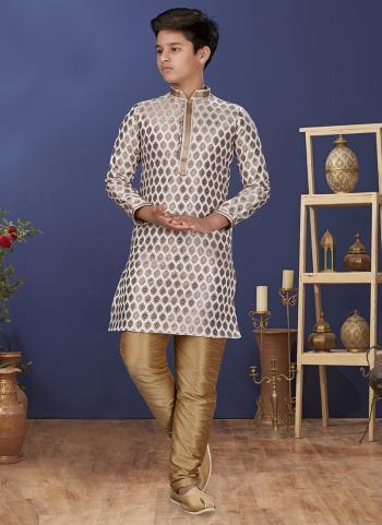 Off White Jacquard Silk Festival Wear Weaving Boys Kurta Pajama