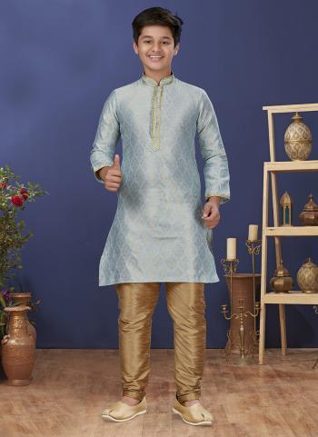 Sky Blue Jacquard Silk Festival Wear Weaving Boys Kurta Pajama