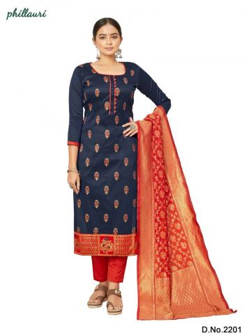 Navy Blue Jacquard Silk Traditional Wear Bandhani Salwar Suit