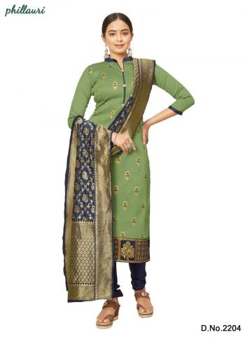 Olive Green Jacquard Silk Traditional Wear Bandhani Salwar Suit