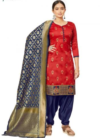 Red Jacquard Silk Traditional Wear Bandhani Salwar Suit