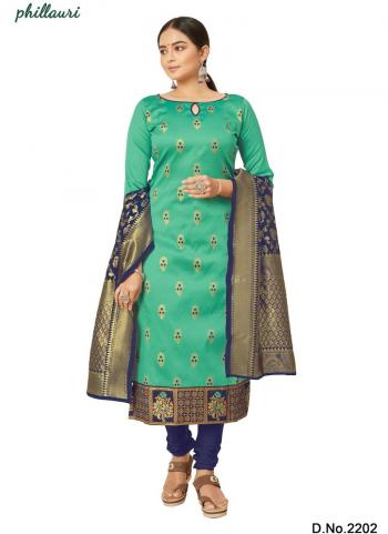 Teal Blue Jacquard Silk Traditional Wear Bandhani Salwar Suit