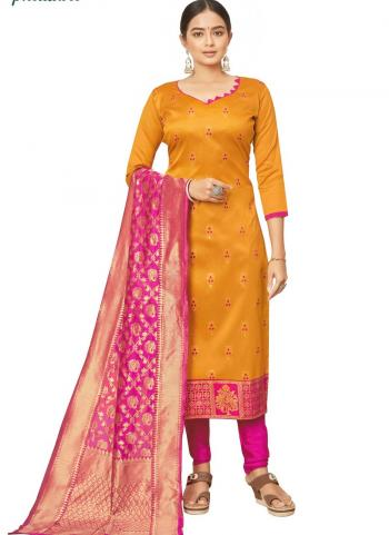 Yellow Jacquard Silk Traditional Wear Bandhani Salwar Suit