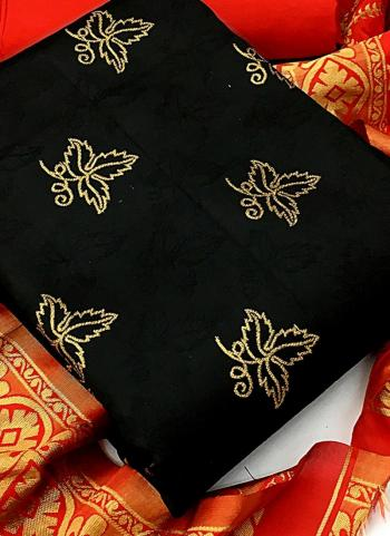 Black Banarasi Silk Casual Wear Weaving Salwar Suit