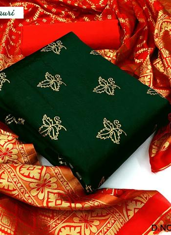 Dark Green Banarasi Silk Casual Wear Weaving Salwar Suit