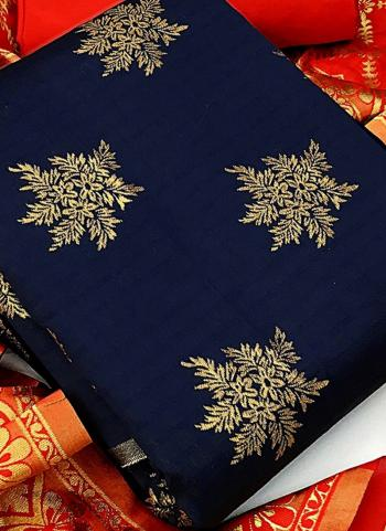 Navy Blue Banarasi Silk Casual Wear Weaving Salwar Suit
