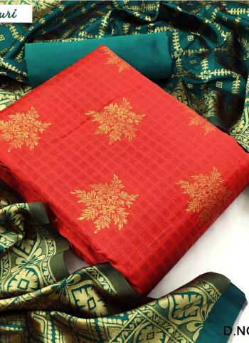 Red Banarasi Silk Casual Wear Weaving Salwar Suit