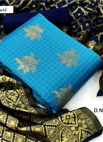 Sky Blue Banarasi Silk Casual Wear Weaving Salwar Suit