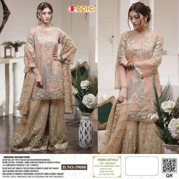 Light Pink Organza Traditional Wear Embroidery Work Pakistani Suit