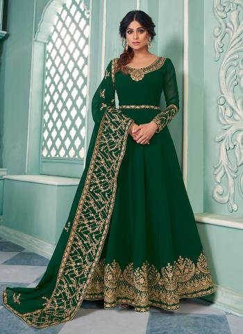 Dark Green Georgette Wedding Wear Embroidery Work Anarkali Suit
