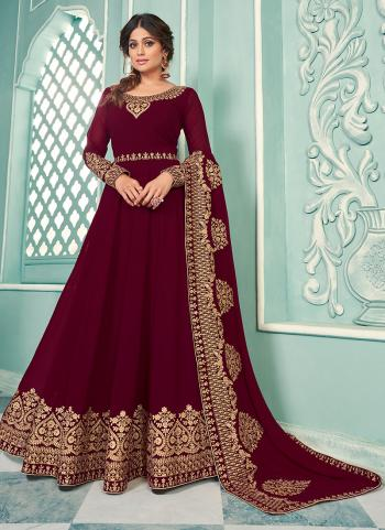 Magenta Georgette Wedding Wear Embroidery Work Anarkali Suit