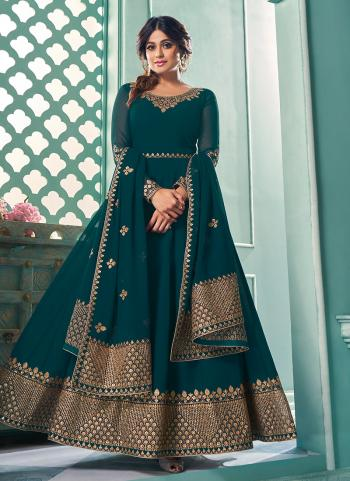 Rama Blue Georgette Wedding Wear Embroidery Work Anarkali Suit