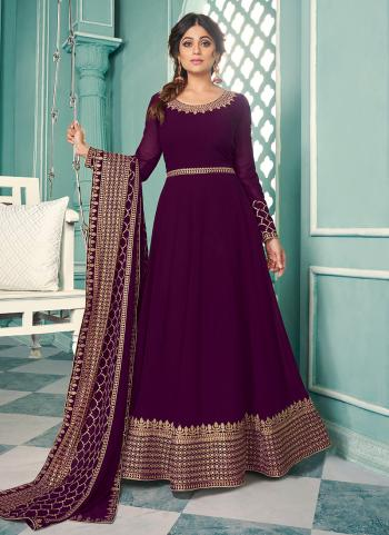 Wine Georgette Wedding Wear Embroidery Work Anarkali Suit
