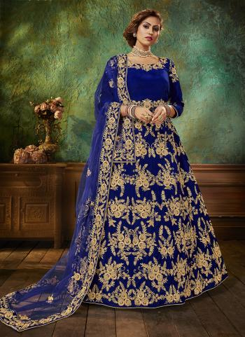 Blue Velvet Wedding Wear Embroidery Work Anarkali Suit