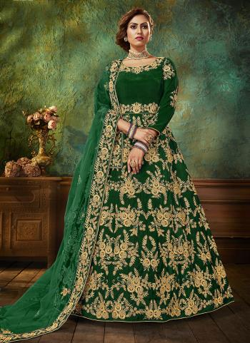 Green Velvet Wedding Wear Embroidery Work Anarkali Suit