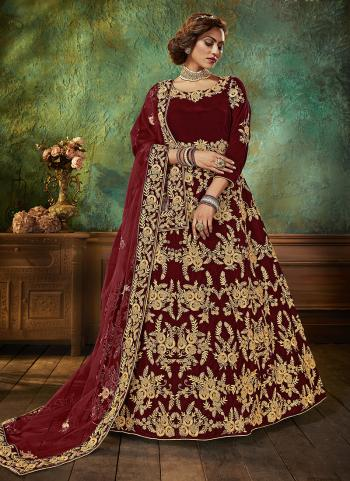 Maroon Velvet Wedding Wear Embroidery Work Anarkali Suit