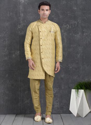 Cream Jaqurd Silk Brocade Festival Wear Pintux Aligadhi Pant Indo Western