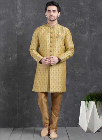 Gold Jaqurd Silk Brocade Festival Wear Pintux Aligadhi Pant Indo Western