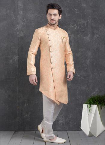 Peach Jaqurd Silk Brocade Festival Wear Pintux Aligadhi Pant Indo Western