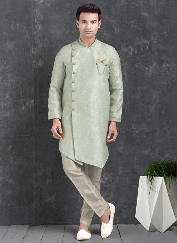 Sky blue Jaqurd Silk Brocade Festival Wear Pintux Aligadhi Pant Indo Western