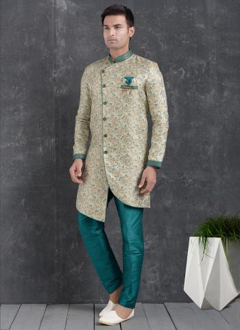 Teal cream Jaqurd Silk Brocade Festival Wear Pintux Aligadhi Pant Indo Western