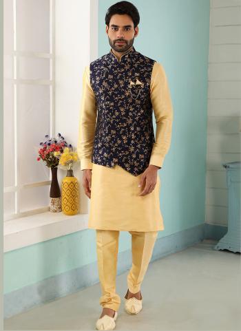 Blue Gold Art Banarasi Silk Party Wear Jacquard Kurta Pajama With Jacket