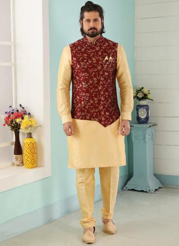 Maroon Gold Art Banarasi Silk Party Wear Jacquard Kurta Pajama With Jacket