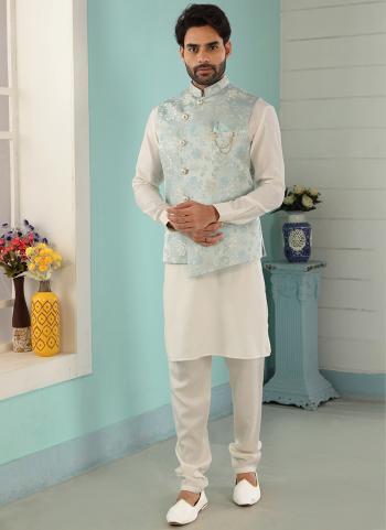 Sky Blue Cream Art Banarasi Silk Party Wear Jacquard Kurta Pajama With Jacket