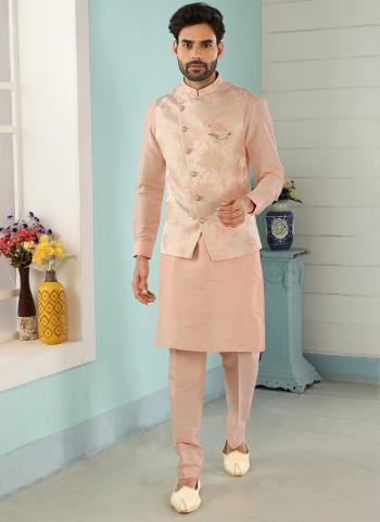 Cream Peach Art Banarasi Silk Party Wear Jacquard Kurta Pajama With Jacket