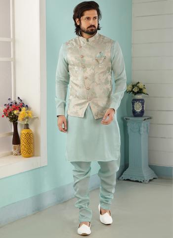 Cream Sky Blue Art Banarasi Silk Party Wear Jacquard Kurta Pajama With Jacket