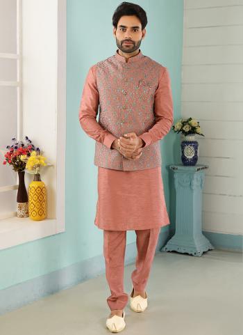 Dark Onion Art Banarasi Silk Party Wear Jacquard Kurta Pajama With Jacket