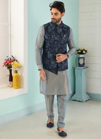 Blue Gray Art Banarasi Silk Party Wear Jacquard Kurta Pajama With Jacket