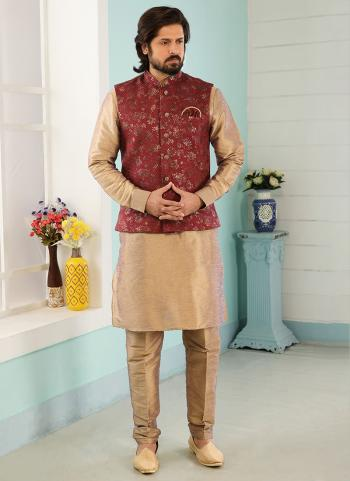 Maroon Beige Art Banarasi Silk Party Wear Jacquard Kurta Pajama With Jacket