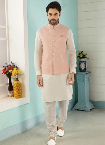 Peach Cream Art Banarasi Silk Party Wear Jacquard Kurta Pajama With Jacket